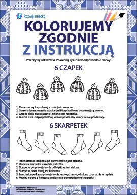 Pokoloruj zgodnie z instrukcją (czapki i skarpetki)