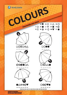 Nazwy kolorów w języku angielskim: pokoloruj parasole