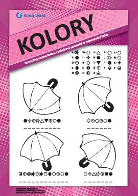 Nazwy kolorów: pokoloruj parasolki