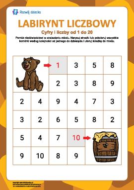 Labirynt liczbowy nr 1: cyfry od 1 do 10