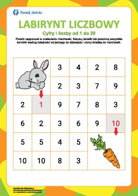 Labirynt liczbowy nr 2: cyfry od 1 do 10