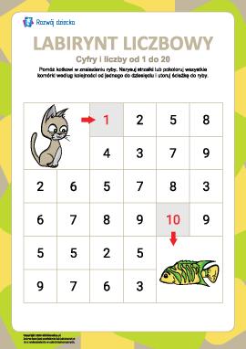 Labirynt liczbowy nr 3: cyfry od 1 do 10