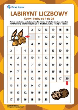 Labirynt liczbowy nr 10: liczby od 1 do 20