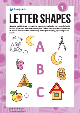 """Uczymy się liter pod względem kształtów nr 1: """"A"""", """"B"""", """"C"""" (alfabet angielski)"""