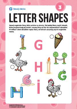 """Uczymy się liter pod względem kształtów nr 3: """"G"""", """"H"""", """"I"""" (alfabet angielski)"""