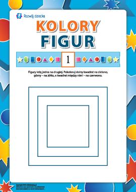 Kolory figur: kolorujemy kwadraty