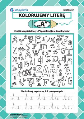 """Kolorujemy literę """"A"""" (alfabet polski)"""