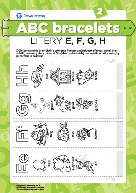 Bransolety literowe: litery E, F, G, H
