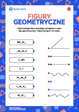 Wpisujemy brakujące litery, uczymy się figur geometrycznych