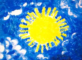 Jak za pomocą farb paluszkowych narysować słońce