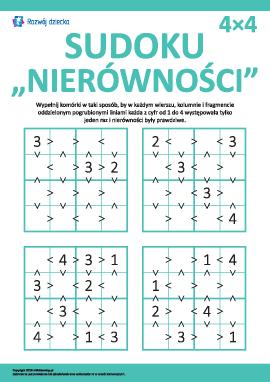 Uczymy się nierówności, rozwiązując sudoku 4х4