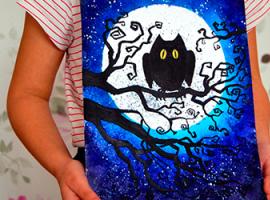 Kompozycja nocna: rysujemy sowę na tle księżyca