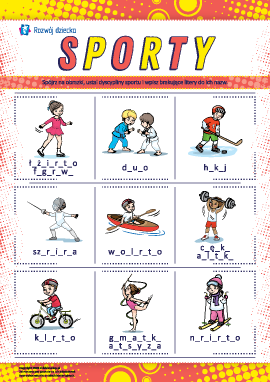 """Wpisujemy brakujące litery: """"Sporty"""""""