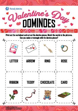 """Łamigłówka-domino """"Dzień świętego Walentego"""" (język angielski)"""