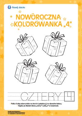"""Kolorowanka noworoczna """"Cztery"""""""