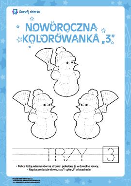 """Kolorowanka noworoczna """"Trzy"""""""