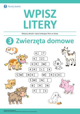 Wpisz litery: zwierzęta domowe