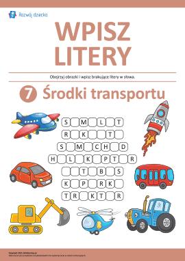 Wpisz litery: środki transportu