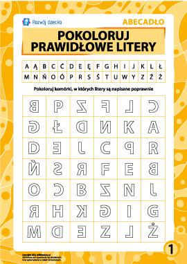 Prawidłowe litery nr 1 (polski alfabet)