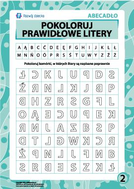 Prawidłowe litery nr 2 (polski alfabet)