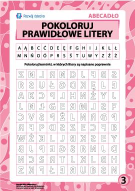 Prawidłowe litery nr 3 (polski alfabet)