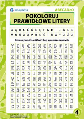 Prawidłowe litery nr 4 (polski alfabet)