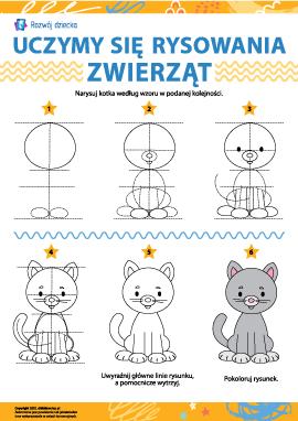 Uczymy się rysowania zwierząt: kotek