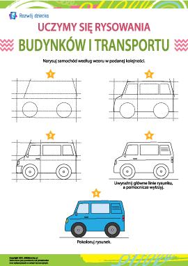 Uczymy się rysowania budynków i transportu: samochód