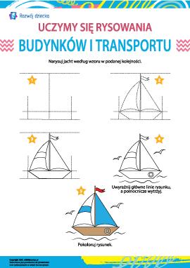 Uczymy się rysowania budynków i transportu: jacht