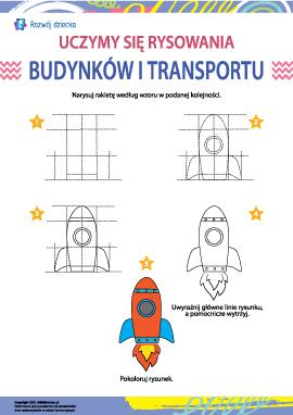 Uczymy się rysowania budynków i transportu: rakieta