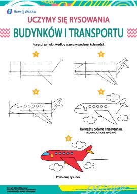 Uczymy się rysowania budynków i transportu: samolot