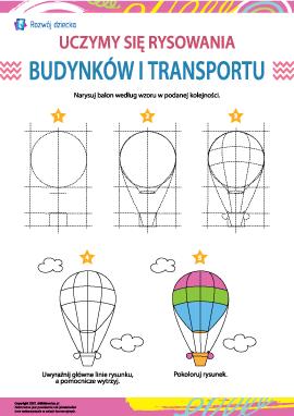 Uczymy się rysowania budynków i transportu: balon