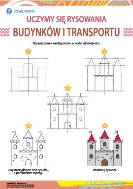 Uczymy się rysowania budynków i transportu: zamek
