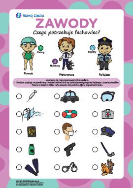 Uczymy się nazw zawodów: pływak, weterynarz, policjant