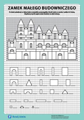 Zamek budowniczego: pokoloruj i policz nr 14