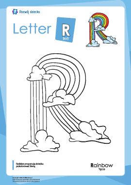 """Kolorowanka """"Alfabet angielski"""": litera """"R"""""""