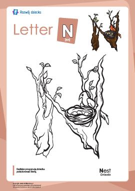 "Kolorowanka ""Alfabet angielski"": litera ""N"""