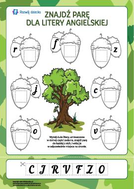 Znajdź parę dla litery nr 1 (alfabet angielski)