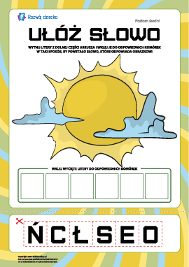"""Ułóż słowo """"słońce"""": poziom średni"""