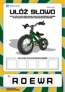 """Ułóż słowo """"rower"""": poziom średni"""