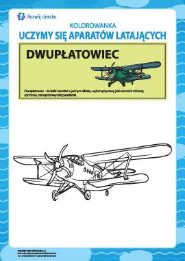 Kolorowanka aparatów latających: dwupłat