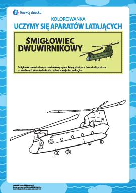 Kolorowanka aparatów latających: helikopter dwuśmigłowy