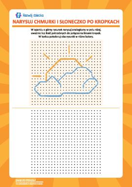 Rysowanie od kropki do kropki: chmurki i słoneczko