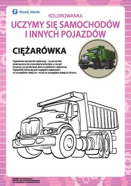 Kolorowanka pojazdów: ciężarówka