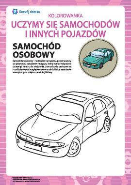 Kolorowanka pojazdów: samochód osobowy