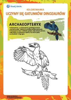 Kolorowanka dinozaury: archaeopteryx