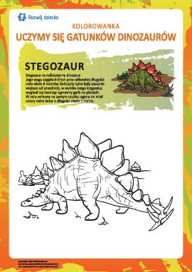 Kolorowanka dinozaury: stegozaur