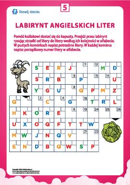 Labirynt angielskich liter nr 5 (alfabet angielski)