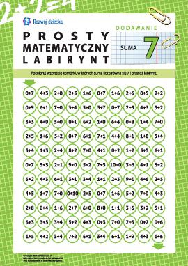 """Labirynt matematyczny: suma """"7"""""""