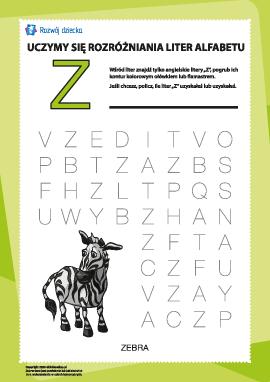"""Alfabet angielski: znajdź literę """"Z"""""""